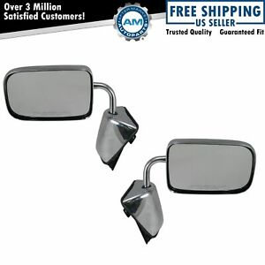 Folding Chrome Manual Mirrors Pair Set For 88 93 100 250 Pickup Truck D W 150