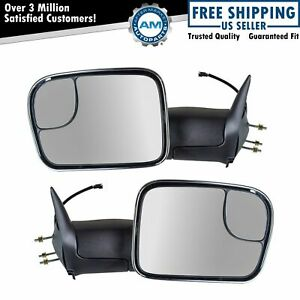 Side Mirror Manual Signal Towing Flip Up Chrome Pair Set For 94 01 Ram Pickup