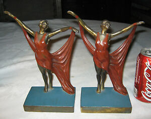 Antique Nude Scarf Dancing Lady Bust Art Deco Statue Sculpture Nouveau Bookends