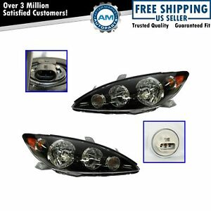 Black Headlights Headlamps Left Right Pair Set For 05 06 Toyota Camry Se