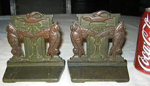 Antique Art Nouveau Judd Mfg Co Wise Owl Bird Cast Iron Statue Bookends 9886