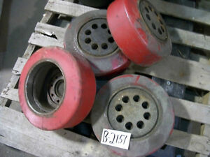 1 Of These 4 Red Forklift Wheels Tires 8 id X 5 25 w 8 Bolt Fork Lift