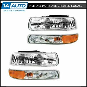 Headlights Parking Lights Performance Set Kit For Chevy Silverado Suburban Tahoe