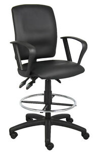 Leather Drafting Stool Chair With Multi function Tilting Loop Arms B1647
