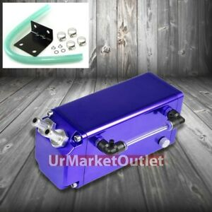 Blue Square G Style Universal Aluminum Oil Fuel Catch Tank Can Reservoir Turbo