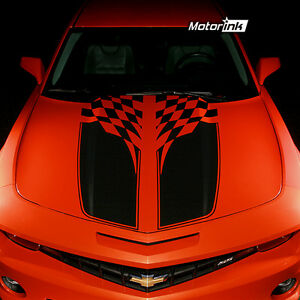 2010 2012 2013 Chevrolet Camaro Checkered Flag Rally Stripes Decals Hood