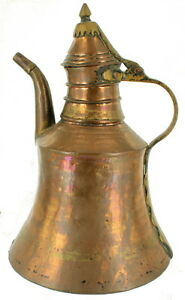 Antique Brass Copper Pitcher Tea Coffee Pot Arabic Turkish Style Middle East