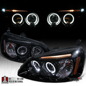 For 2001 2003 Honda Civic Black Smoke Led Halo Projector Headlights Left Right