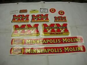Minneapolis Moline Model G Tractor Decal Set New