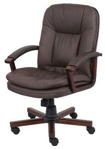 Brown Leather With Cherry Finish Arms And Base Office Computer Desk Chair