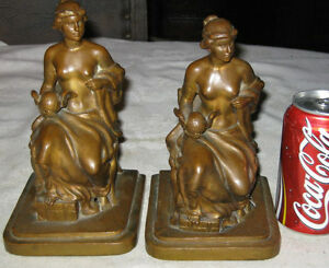 Antique Jennings Brothers C Vieth Nude Lady Wing Globe Art Statue Book Bookends