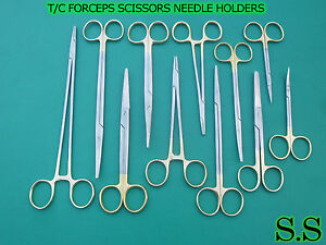 10 T c Forceps Scissors Needle Holders Surgical Dental Instruments