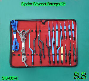High Class Bipolar Bayonet Forceps Electrosurgical Instruments Set S s 0074
