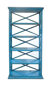 Rustic Blue Color Solid Wood Display Cabinet Book Shelf Jz416