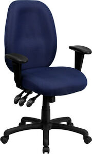 High Back Navy Fabric Multi functional Ergonomic Task Chair With Arms