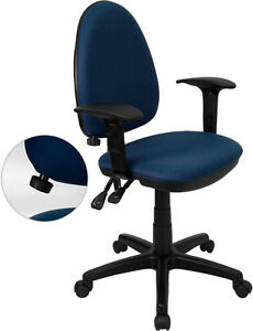 Mid back Navy Blue Fabric Multi functional Task Chair With Arms