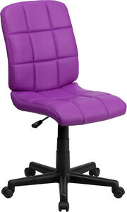 Mid back Purple Quilted Vinyl Task Chair With Nylon Arms