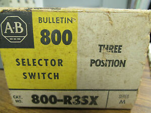 New Allen Bradly 3 Pos Selector Switch Series M Cat No 800 r3sx Wg 327