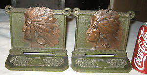 Antique Art Nouveau Cast Iron Indian Swastika Peace Symbol Usa Statue Bookends
