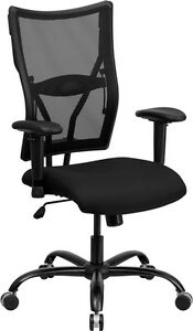Big Tall Black Mesh Office Desk Chair With Arms 400 Lbs Weight Capacity