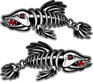 2 3 X 7 Fish Skeleton Decals Sticker Fishing Boat Graphics Ice Tackle 1500
