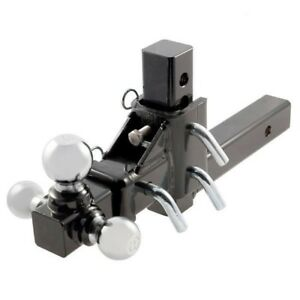 3 Way Tri Ball Adjustable Solid 2 Receiver Triple Drop Turn Tow Hitch Mount