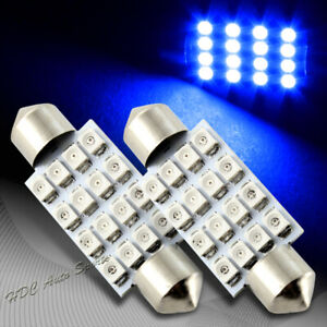2x 41mm 16 Smd Blue Led Festoon Dome Map Glove Box Trunk Replacement Light Bulb