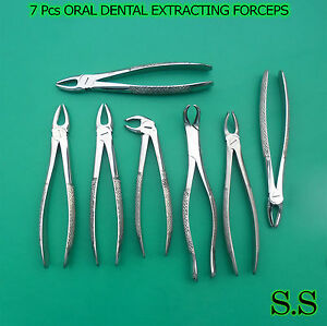 7 Pcs Oral Dentaltooth Extracting Forceps Instruments English Pattern