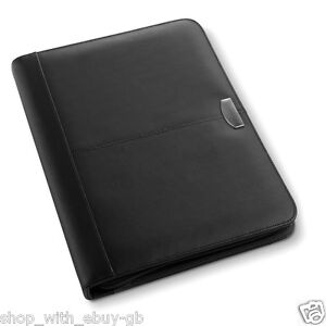 Real Bonded Leather A4 Conference Folder Brand New Zipped Leather Pu Inner