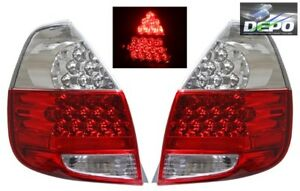 Fits 2007 2008 Honda Fit Jazz Gd3 Full Led Red Clear Tail Lights Depo