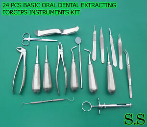 24 Pcs Basic Oral Dental Surgery Extracting Forceps Instruments Kit