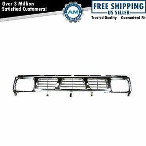 Grille Grill Black Chrome Front End For 93 97 Nissan D21 Hardbody Pickup Truck