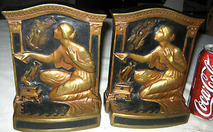 Antique Art Nouveau Lady Pandoras Box Bronze Clad Statue Sculpture Bookends 8lbs