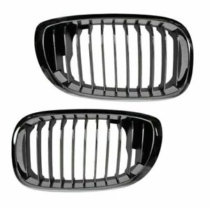 Chrome Black Upper Grille Grill Set Pair New For 04 06 Bmw 3 Series 2 Door