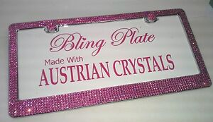 Rose Pink 6 Row Crystal Bling License Plate Frame Made With Swarovski Elements