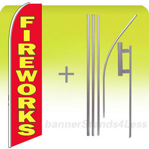Fireworks Swooper Flag Kit Feather Flutter Banner Sign 15 Tall Rb