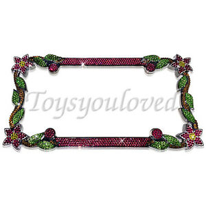 Daisy Flower Pink Crystal Bling License Plate Chrome Frame Austrian Rhinestones