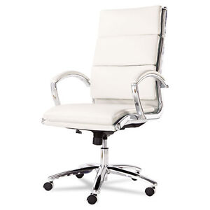 Lot Of 10 High Back White Leather Conference Room Table Chairs With Padded Arms