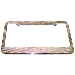 8 Rows Ab Crystal Bling License Plate Frame Made With Swarovski Elements