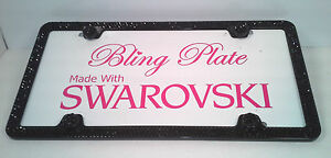 3 Row Jet Black Crystal Bling License Plate Frame Made With Swarovski Elements
