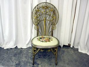 Antique Wicker Needlepoint Victorian Style Side Chair W Curlicue Scrolls Nice
