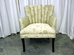 Antique Hollywood Regency Style Channel Back Chair W Fresh Upholstery Xtra Nice