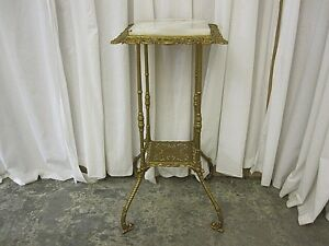 Antique Victorian Style Metal Marble Plant Stand Ornate Filigree Very Nice Con