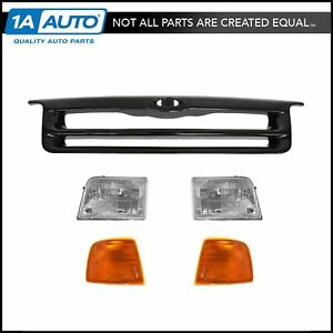Black Grille Headlight Parking Light Lamp Kit Set For 93 94 Ford Ranger 4wd