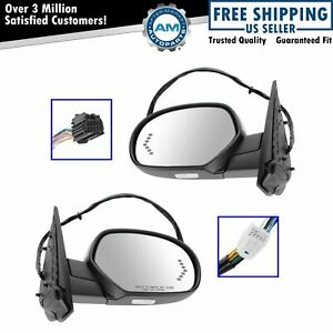 Mirror Power Folding Heated Memory Puddle Signal Chrome Pair For Gm Pickup Suv