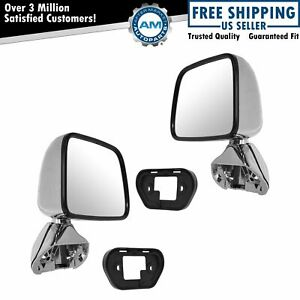 Manual Side View Mirrors Chrome Pair Set For 87 88 Toyota Pickup Truck 4runner