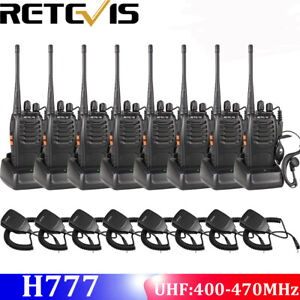 8xretevis H777 Two Way Radio Walkietalkie 5w 1000mah Uhf400 470mhz 8 speaker Mic