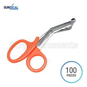 100 Pcs Orange Emt Shears scissors Bandage Paramedic Ems Rescue Supplies 5 50