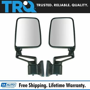 Trq Black Manual Side View Door Mirrors Left Right Pair For 87 02 Wrangler