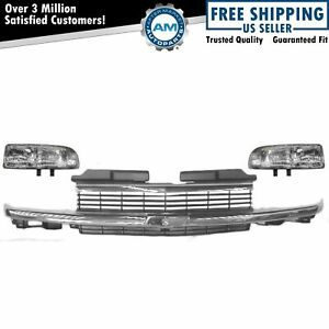 Chrome Grill Grille Headlight Headlamp Set For 98 05 Chevy Pickup Truck Ls S10
